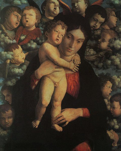 Virgin and Child with cherubs