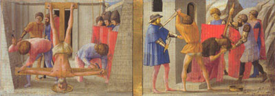 The crucifixion of St Peter; the beheading of the Baptist